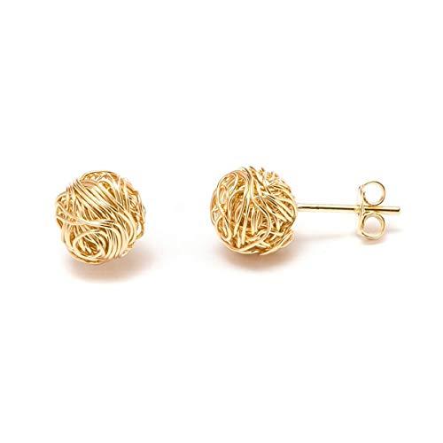 Barzel 18K Gold Plated 10mm Woven Love Knot Stud Earrings (Gold)