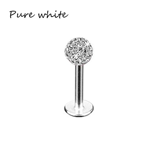 Idlespace New Jewelry Body Lip Ear Rings Piercing Stud Tragus Bar Crystal Ball Monroe Labret for ()