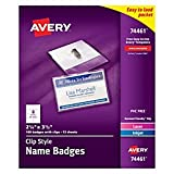 """Avery Clip Name Badges, Print or Write, 2-1/4"""" x 3-1/2"""", 100 Inserts & Badge Holders with Clips (74461)"""