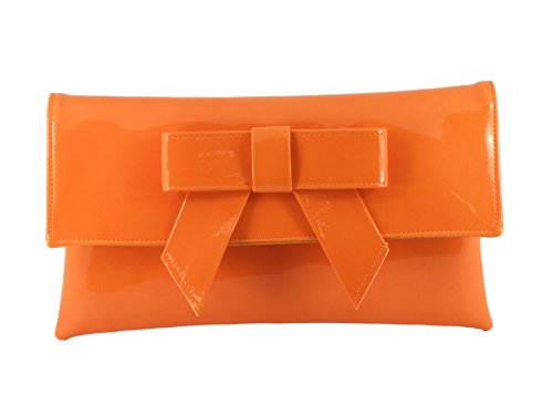 LONI Womens Cute Patent Faux Leather Clutch bag/Shoulder Bag in Orange (Orange Patent Leather Clutch)