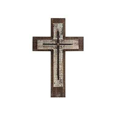 Mardel Layered Wall Cross with Nails, Wood, Natural and Whitewashed, 10 1/4 x 15 3/4 inches