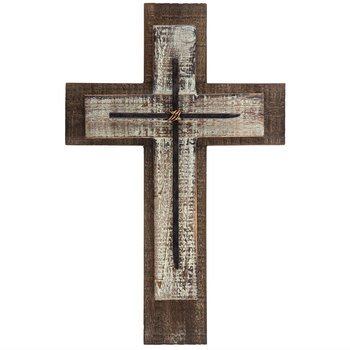 Mardel Layered Wall Cross with Nails, Wood, Natural and Whitewashed, 10 1/4 x 15 3/4 inches 3512944