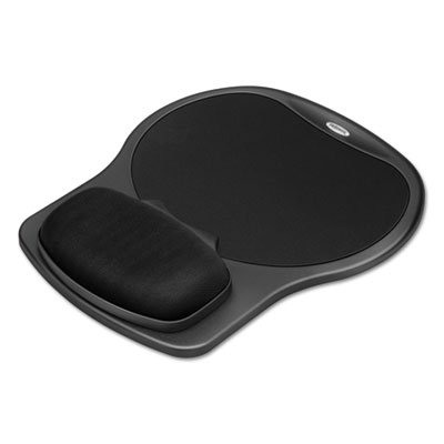 Easy Glide Gel Mouse Pad w/Wrist Rest, 10 x 12 X 1 1/2, Black, Sold as 2 Each