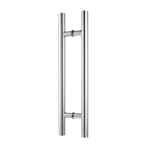 Ranbo 48 inches Solid Standoffs Heavy-Duty Commercial Grade-304 Stainless Steel Push Pull Door Handle/Barn Door Pull Handle/Glass Pulls, Mirror-Polished Chrome ()