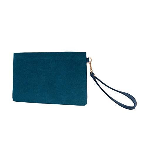 - Wristlet Clutch Purses Women Large Wallet Evening Bag Handbag Vegan Faux Suede 2 Color Tone Pouch(Teal+Turquoise)