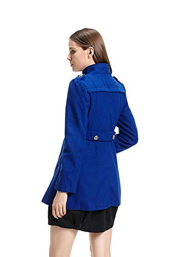 Longues Unicolore Trench Blau Revers Femme Jacke Slim Manteaux Longues Coupe Manteau Fit Hiver Double Patchwork Manches breal Boutonnage 8gRRqEW