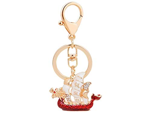 Red Dragon Boat - Charm Keyring, Chinese Style Drip Oil Diamond Dragon Boat Keychain Handbag Pendant Car Keyring for Women Lady Girls Decoration(Red)