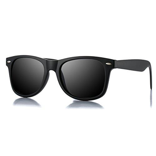 AZORB Classic Polarized Wayfarer Sunglasses Unisex Square Horn Rimmed Design (Black/Black, - Square Glasses Rimmed
