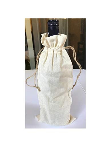 1 Dozen Natural Cotton Wine Bags With Drawstrings, Budget Friendly Wine Bags, Value Pack (Natural, 12)