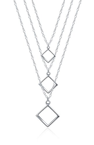 Multilayer Layered Square Necklace Sterling Silver Plated for Women (Silver Plated Square Necklace)