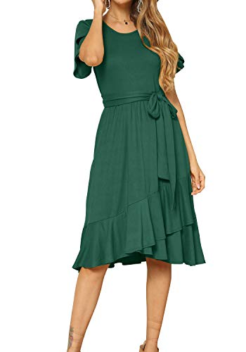 Women Casual Flowy Ruffle Knee Midi Length Work Dress Green M