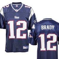 Tom Brady Jersey: Reebok Navy Replica #12 New England Patriots Jersey - Large