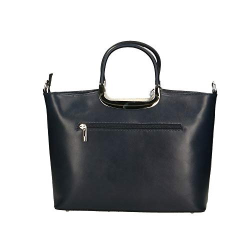 Italy Cm Made Borse Mano Blu In A 36x27x12 Chicca Borsa Bag Scuro Pelle v8xOwRF