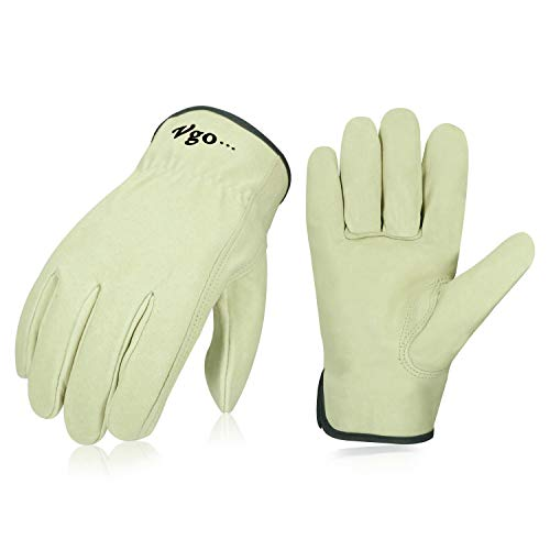Vgo 3Pairs Unlined Men's Pigskin Leather Work Gloves, Drivers Gloves(Size L,Light Cyan,PA9501)