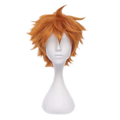 Kadiya Attractive Orange Short Fluffy Boy Male Halloween Anime Manga Role Cosplay Costume Wig