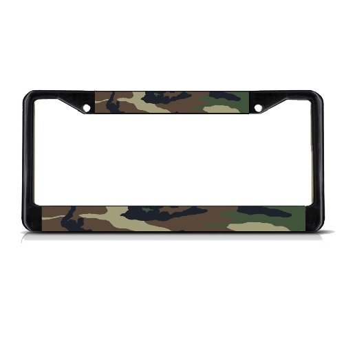 Fastasticdeals CAMO Black Heavy Duty Metal License Plate Frame Tag