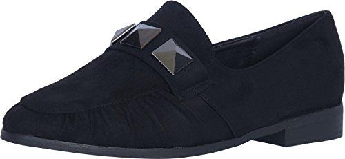 Catherine Malandrino Women's Studded Slip-On Loafer, Black Suede, 8 B(M) US by Catherine Malandrino