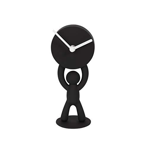 Umbra Buddy Desk Clock, Playful Clock for the Desktop, Soft Touch Finish, Black (Clock Desktop)