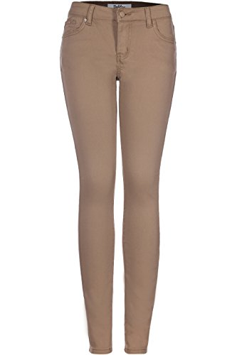 2LUV Women's Stretchy 5 Pocket Skinny Jeans Light Brown 13 (G750A)