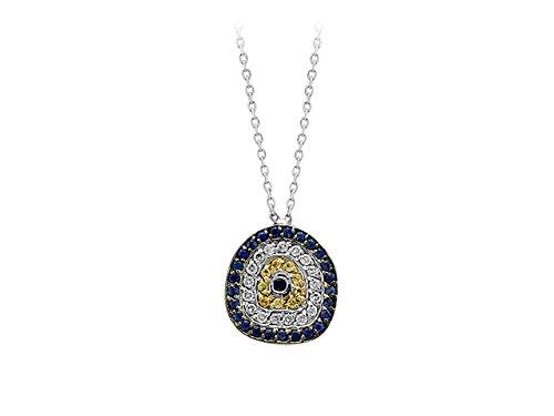 Birgie Diamants et Bijoux - Pendentif Saphir et Diamants Mauvais Œil-Femme- or Blanc 201P0019