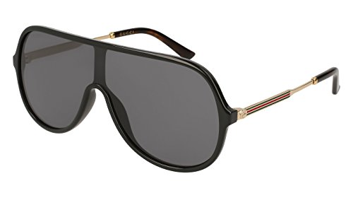 Gucci GG 0199S 001 Black Plastic Shield Sunglasses Grey - Black Gucci Mens Sunglasses
