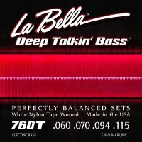 (La Bella 760T White Nylon Tapewound Bass Strings - Standard)