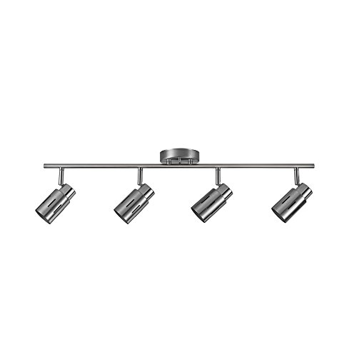 Globe Electric Kenneth 4-Light LED Track Lighting, Brushed Steel Finish, Chrome Accents, LED Bulbs Included, 59326