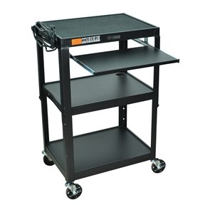 Mobile Stand Up Computer Desk Workstation Cart, Black Steel