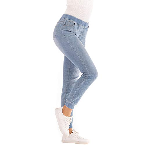 Tiro Claro Hop Alto Denim Plus Azul Colores Otoño ALIKEEY Casual Cropped Jeans Loose Jogging Hip Rectos 2018 Mujeres Elastic Largos Pierna 7wToqHq6Rp