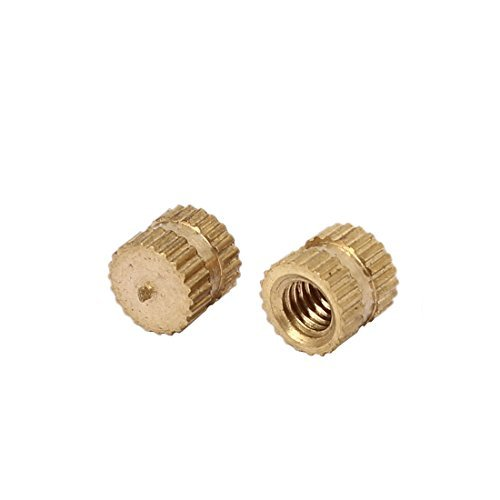 M4 x 6mm 6.3mm OD Brass Threaded Insert 100PCS Recessed Knurled Nut