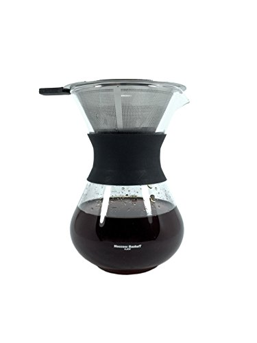 Pour Over Coffee Maker 2 cup 11.8oz(350ml) with Stainless Steel Filter made from Borosilcate Glass by Neccess BaskeT