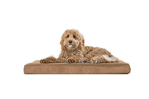 (FurHaven Pet Dog Bed   Deluxe Orthopedic Snuggle Terry & Suede Mattress Pet Bed for Dogs & Cats, Camel, Large)