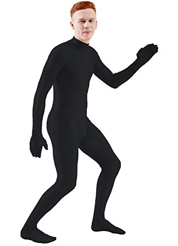Ensnovo Mens Mock Neck Full Body Unitard Spandex Zentai Suits Costumes Black L