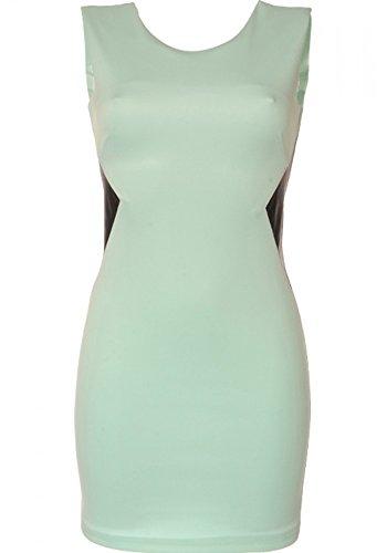 dmarkevous - Robe turquoise cintrée avec motifs sur les côtés et fermeture dorée - S, turquoise