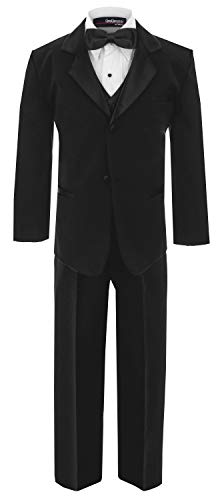 (GG210TieSet Boy's Formal Tuxedo Dresswear Set Black Small)