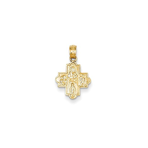 ICE CARATS 14kt Yellow Gold Miniature Four Way Medal Pendant Charm Necklace Religious Fine Jewelry Ideal Gifts For Women Gift Set From Heart 14kt Gold 4 Way Medal