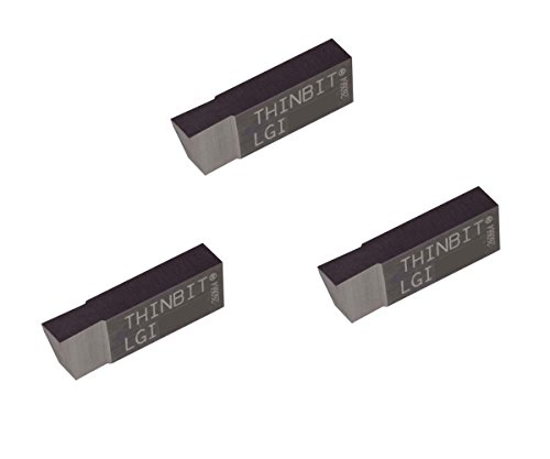 3 Pack LGI100D2.100 Width.150 Depth, Uncoated Carbide, Sharp Corner, THINBIT Grooving Insert for Steel, cast Iron and Stainless Steel with Interrupted cuts by LITTLEBIT