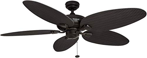 Honeywell Duvall 52-Inch Tropical Ceiling Fan with Five Wet Rated Wicker Blades, Indoor Outdoor Rated, Bronze