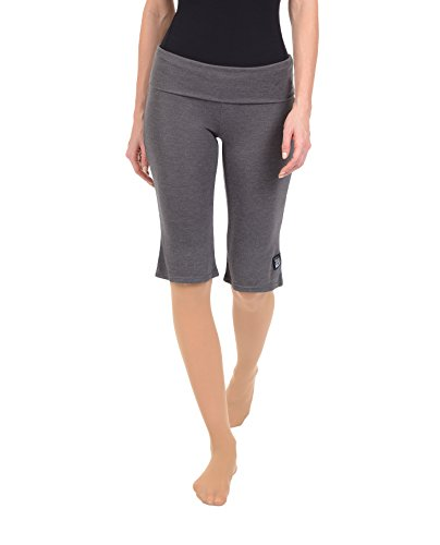 Danskin Women's Crop Flare Pant, Charcoal Grey Heather, Large (Pant Roll Waist Crop)