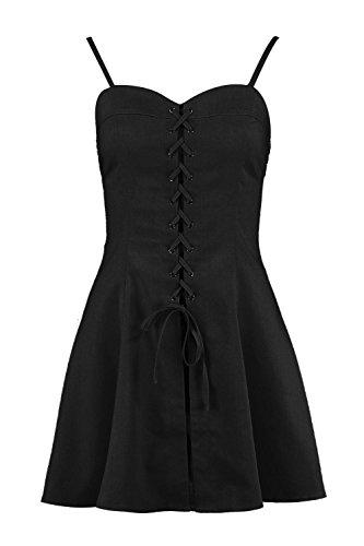 YourPrimeOutlet Damen Petite Katie mit Schnürung und Webmaterial Skaterkleid aus Schwarz