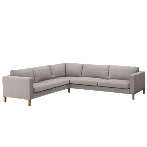 Replace Cover for IKEA Karlstad 2+3/3+2 Sectional Sofa, 100% Cotton Fabric, Durable and Looks elegant (Light ()