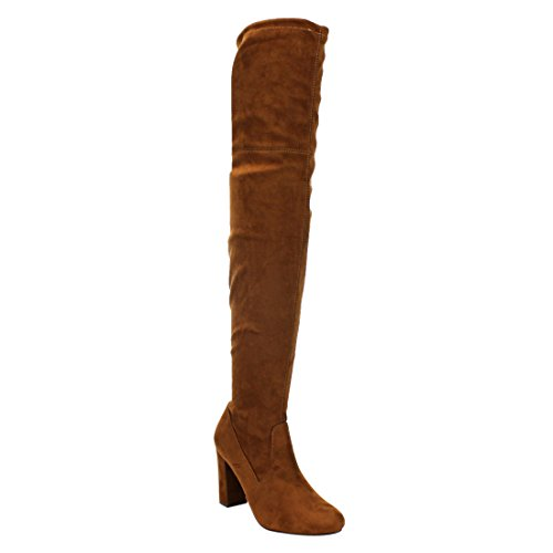 Delicious Women's Faux Suede Back Tie Over The Knee Chunky High Heel Dress Boot Cognac Faux Suede