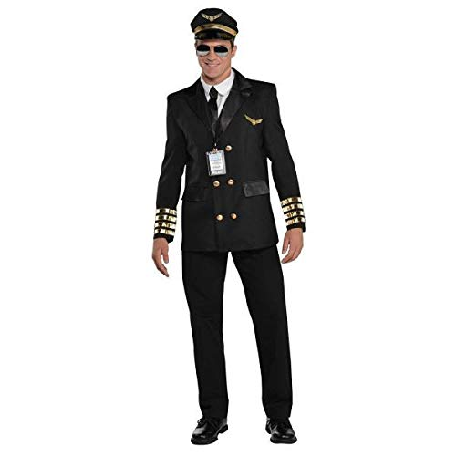 AMSCAN Captain Wingman Pilot Halloween Costume for Men, Large, with Included Accessories -