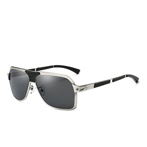 Plano Sol vidrios Vidrios Gafas con para Caja de rect¨¢ngulo de Manera Plata AT206 Hombres Sun Fresca Marca Coches Negro de de Hombres Buceo Zygeo el polarizadas Superior los BwqAxPOWnY