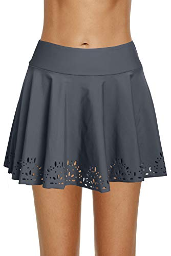 - REKITA Womens Swim Skirt Lace Crochet Skort Bikini Bottom (XXL, Grey-Lace Edge)