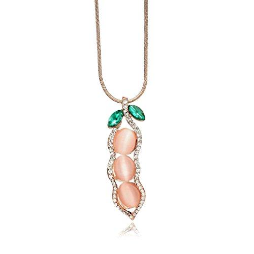 Meriling Crystal Rhinestone Cats Eye Pea Necklace Rose Gold
