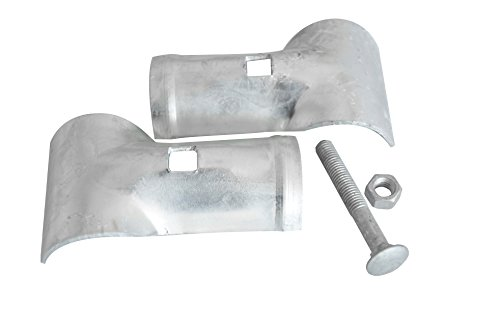 V Gard Chain Link Fence Parts End Rail Clamp - 2''x2'' - for Dog Kennel Chain Link Run Greenhouse Vine Trellis, Carriage Bolt & Nut Included by V Gard