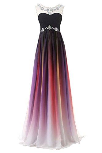 Sarahbridal Damen Lang Chiffon Ballkleid Herzenform Mehrfarbig Abendkleider Partykleider SSD313 Schwarz & Violett EU32