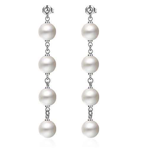 Sterling Silver Pearl Long Dangle Drop Earring for Women Crystal Moon Star Charms (4 Beaded Pearl Earring) ()