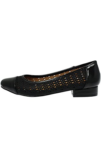 JLY038 Harris Women's Patent Faux Leather Contrast Perforated Low Heel Shoes Black dVGw4MQ